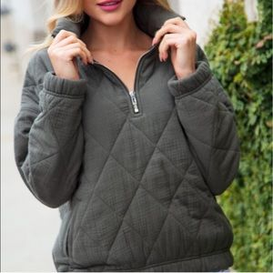 Olive Quilted 3/4 Zip Pullover Puffer